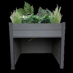 Garage en bois composite avec Jardin surelevé integré