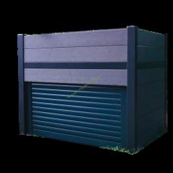 Garage jardiniere en bois composite avec porte automatique OSVAN WPC AB 01G+V